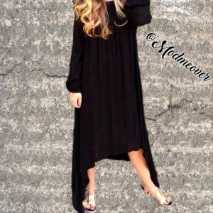 Black Bohemian Asymmetrical Maxi Dress NEW